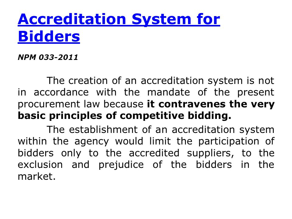 Accreditation System for Bidders
