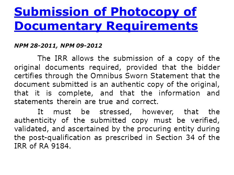 Submission of Photocopy of Documentary Requirements