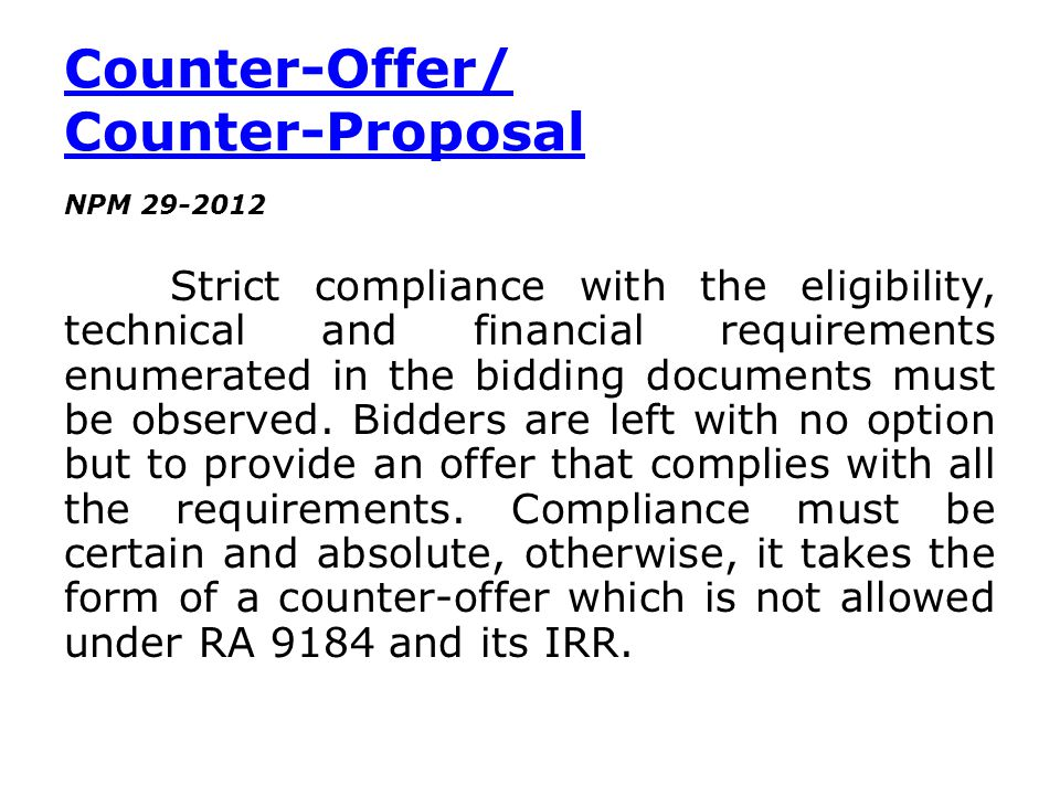 Counter-Offer/ Counter-Proposal