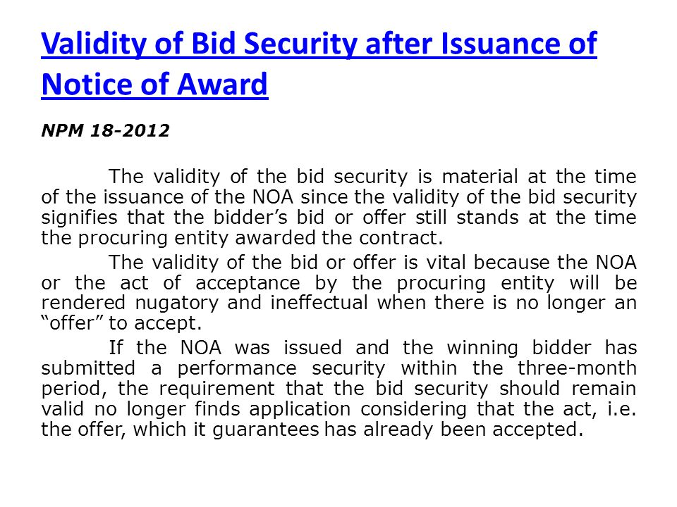 Validity of Bid Security after Issuance of Notice of Award