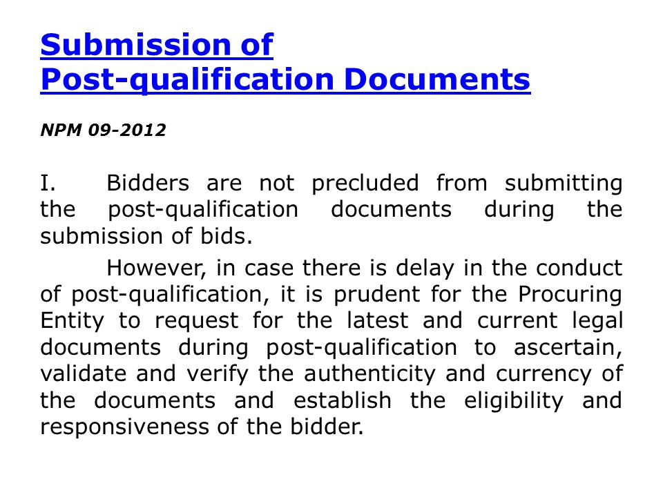 Submission of Post-qualification Documents
