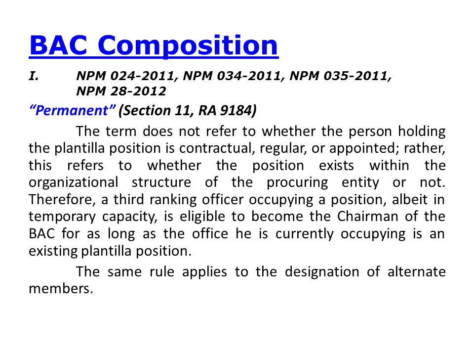 BAC Composition Permanent (Section 11, RA 9184)