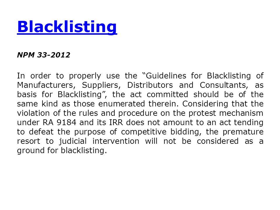 Blacklisting NPM 33-2012.