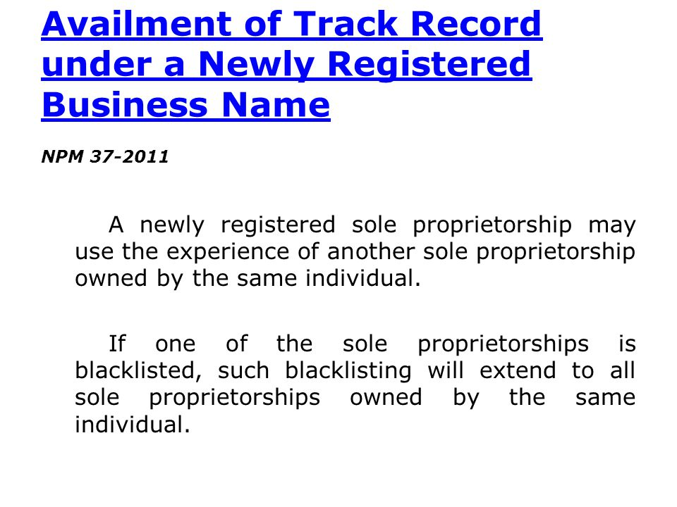 Availment of Track Record under a Newly Registered Business Name