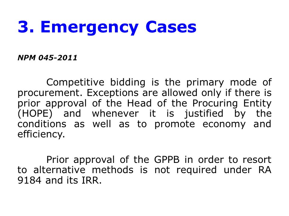 3. Emergency Cases NPM 045-2011.