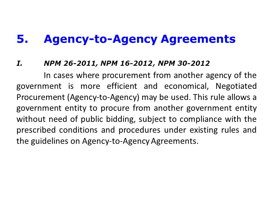 5. Agency-to-Agency Agreements