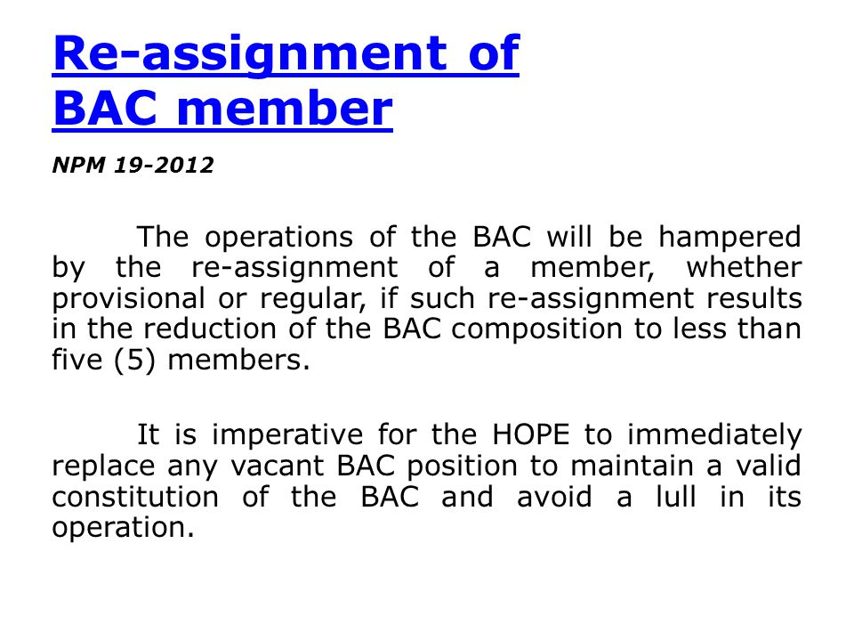 Re-assignment of BAC member