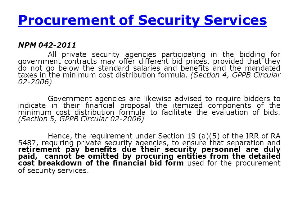 Procurement of Security Services