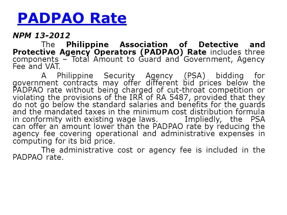 PADPAO Rate NPM 13-2012.