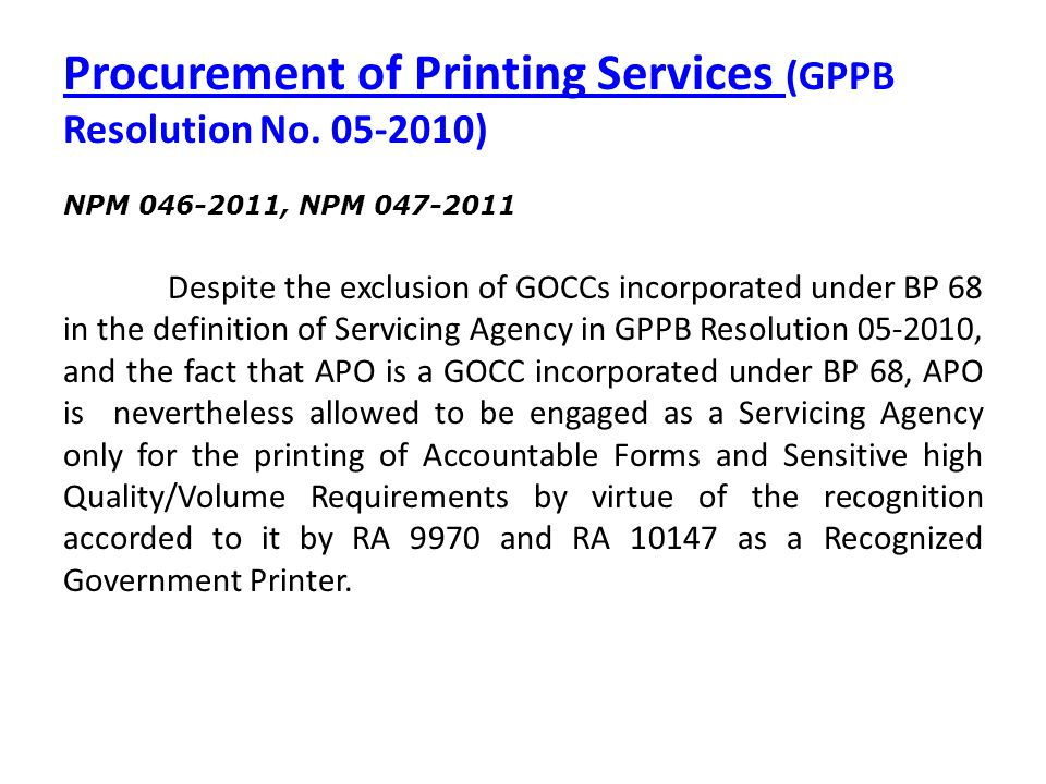 Procurement of Printing Services (GPPB Resolution No. 05-2010)