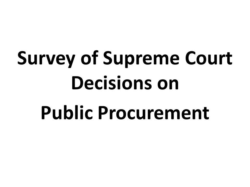 Survey of Supreme Court Decisions on Public Procurement