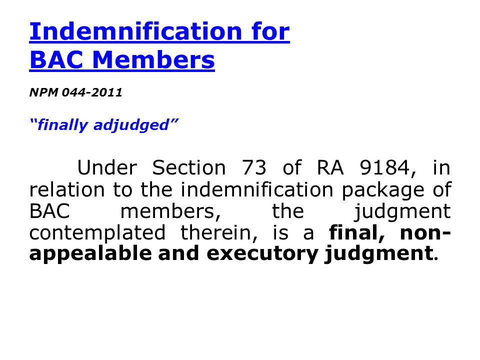 Indemnification for BAC Members