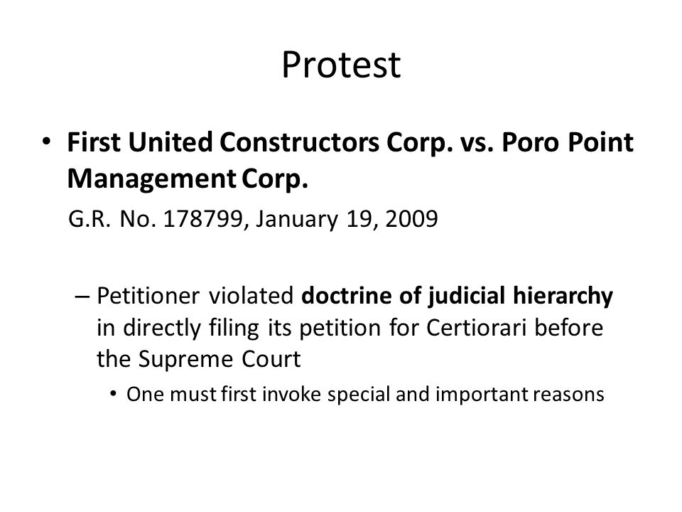 Protest First United Constructors Corp. vs. Poro Point Management Corp. G.R. No. 178799, January 19, 2009.