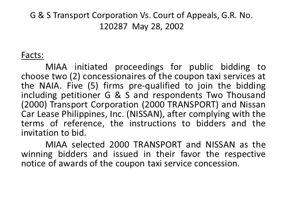 G & S Transport Corporation Vs. Court of Appeals, G. R. No