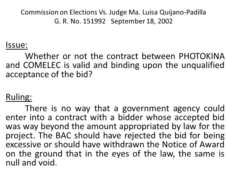 Commission on Elections Vs. Judge Ma. Luisa Quijano-Padilla G. R. No