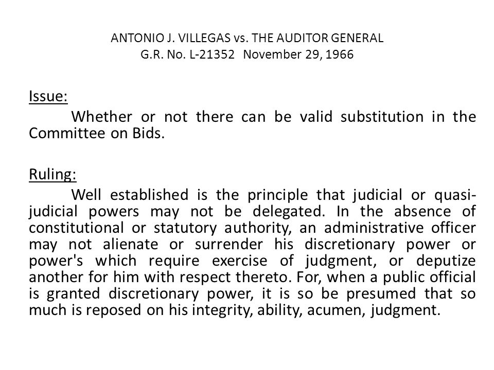 ANTONIO J. VILLEGAS vs. THE AUDITOR GENERAL G. R. No