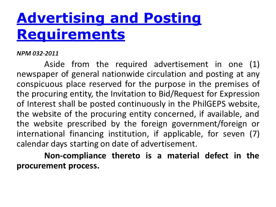 Advertising and Posting Requirements