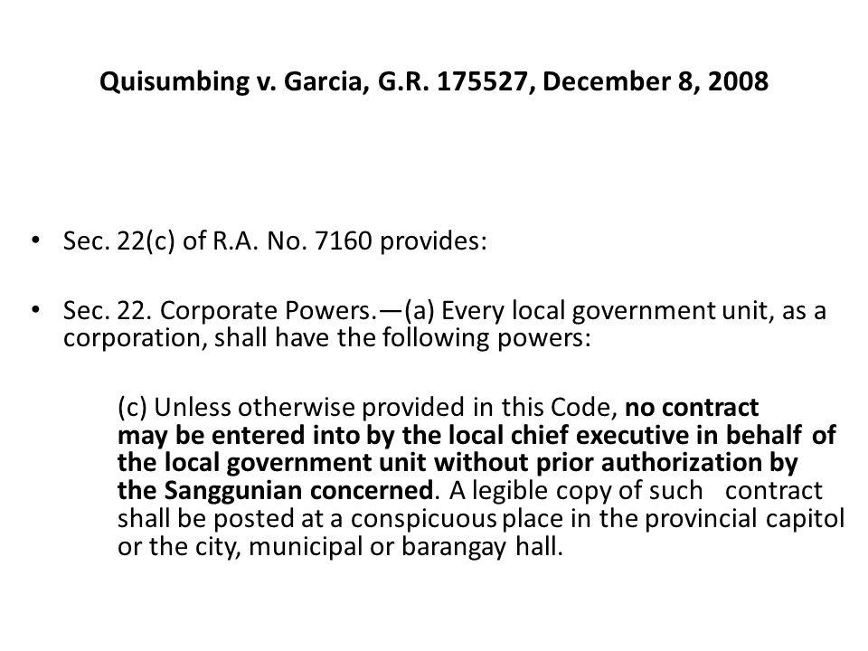 Quisumbing v. Garcia, G.R. 175527, December 8, 2008