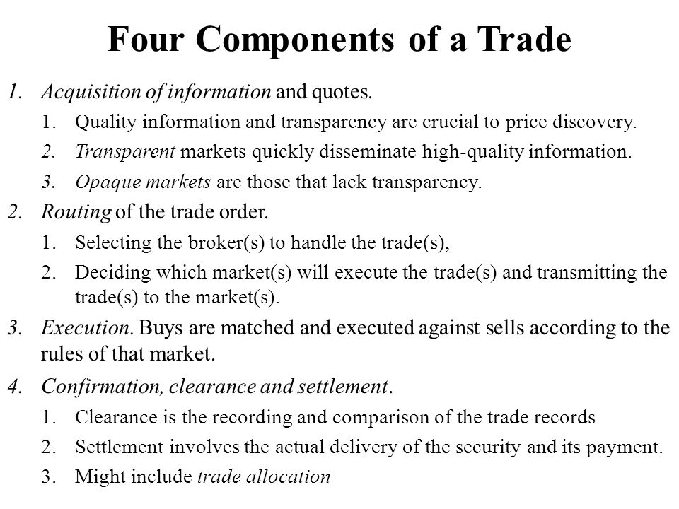 Four Components of a Trade
