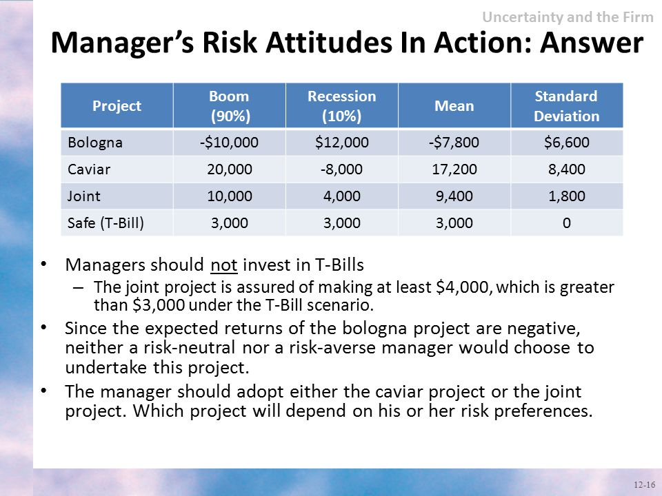 Manager's Risk Attitudes In Action: Answer