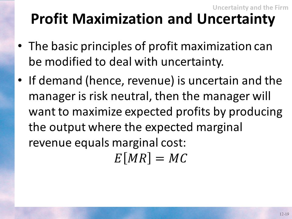 Profit Maximization and Uncertainty