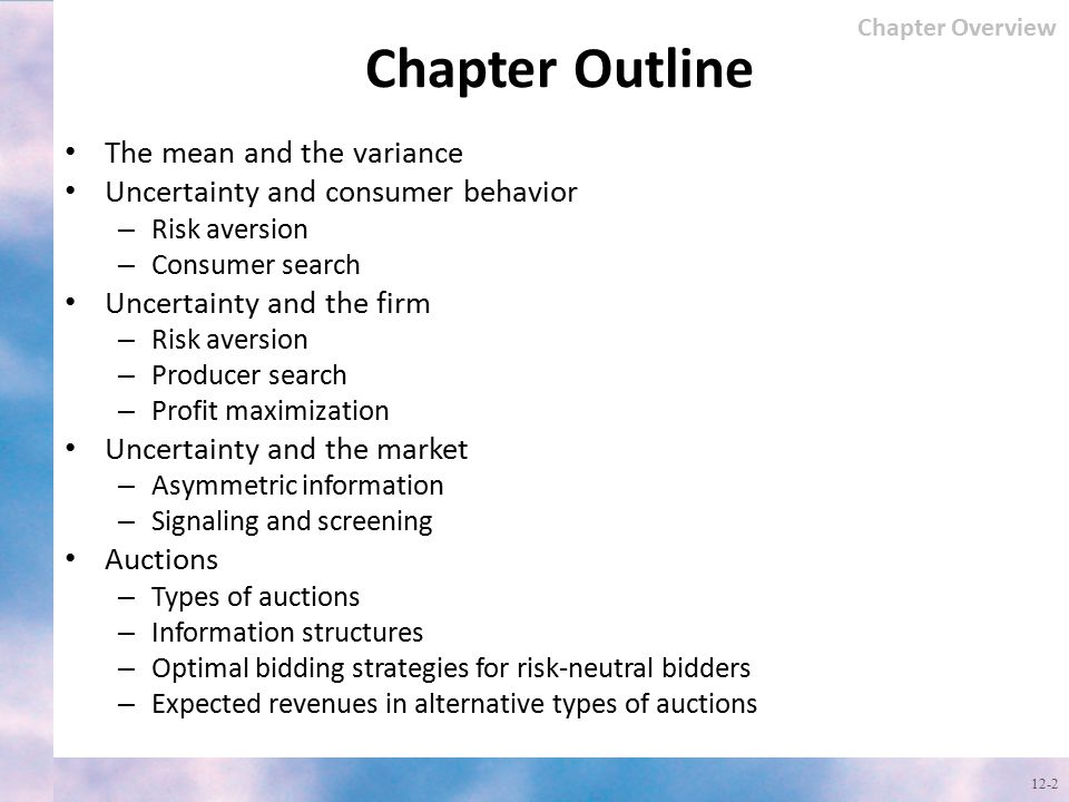 Chapter Outline The mean and the variance