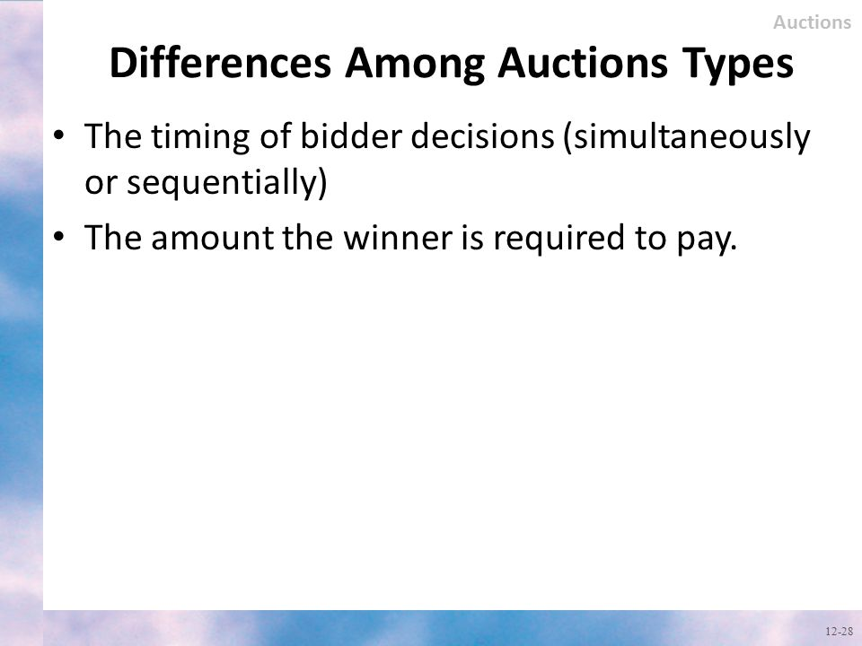 Differences Among Auctions Types