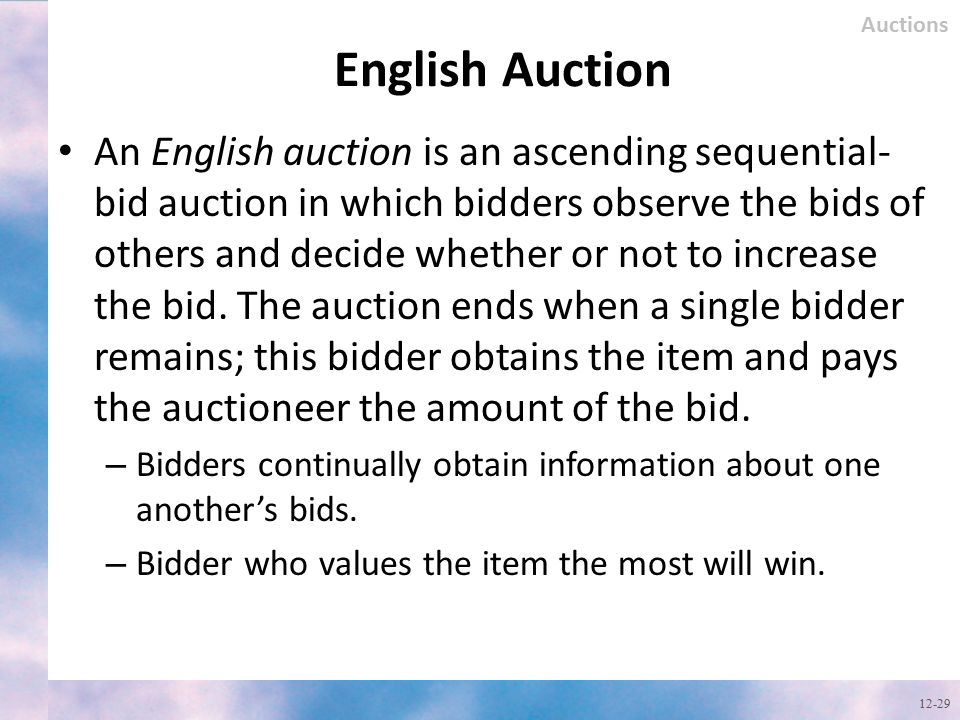 Auctions English Auction.