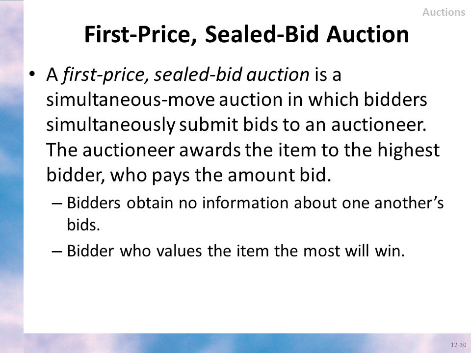 First-Price, Sealed-Bid Auction