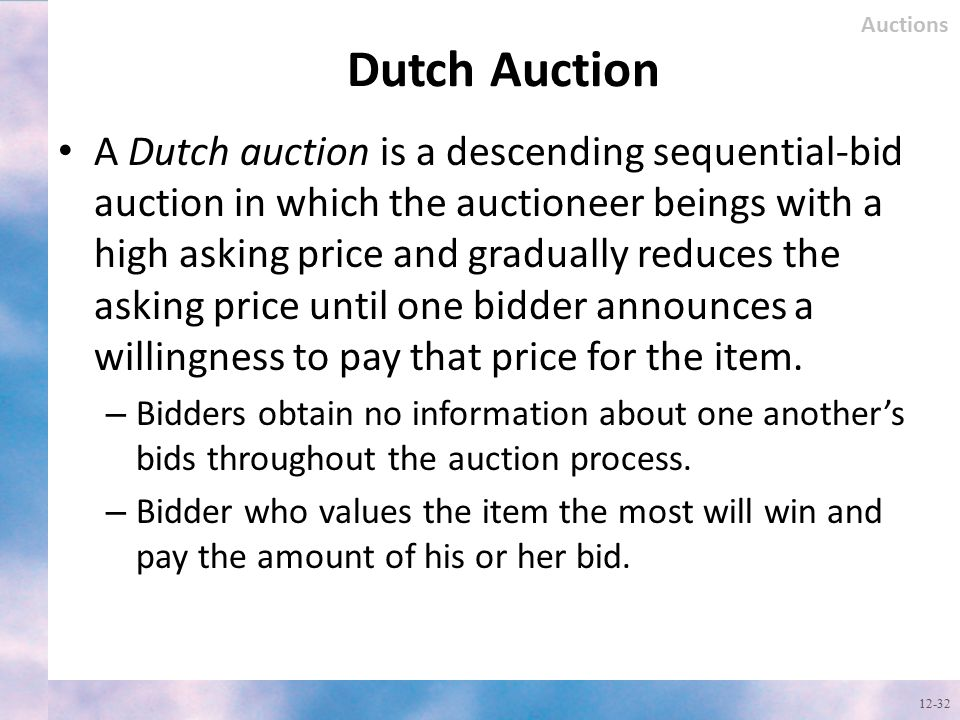 Auctions Dutch Auction.