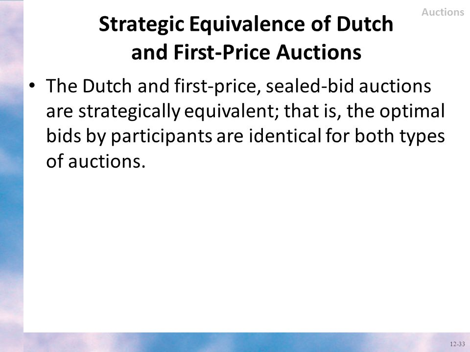 Strategic Equivalence of Dutch and First-Price Auctions