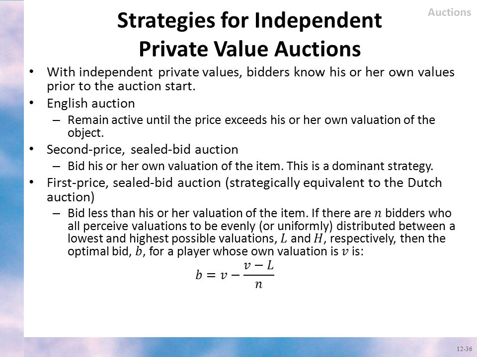 Strategies for Independent Private Value Auctions