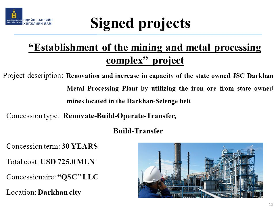 Establishment of the mining and metal processing complex project