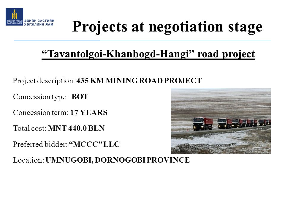 Projects at negotiation stage