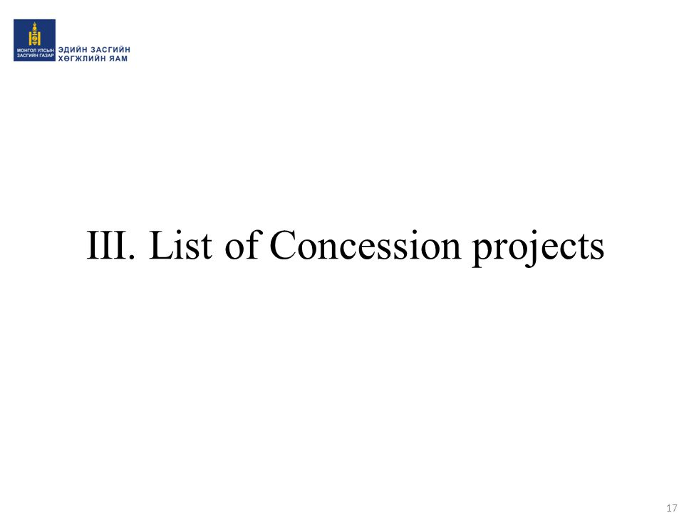 III. List of Concession projects
