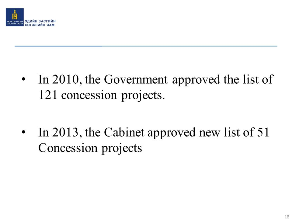 In 2010, the Government approved the list of 121 concession projects.