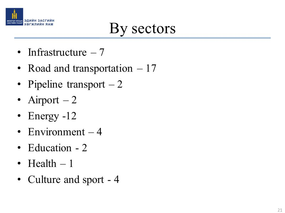 By sectors Infrastructure – 7 Road and transportation – 17