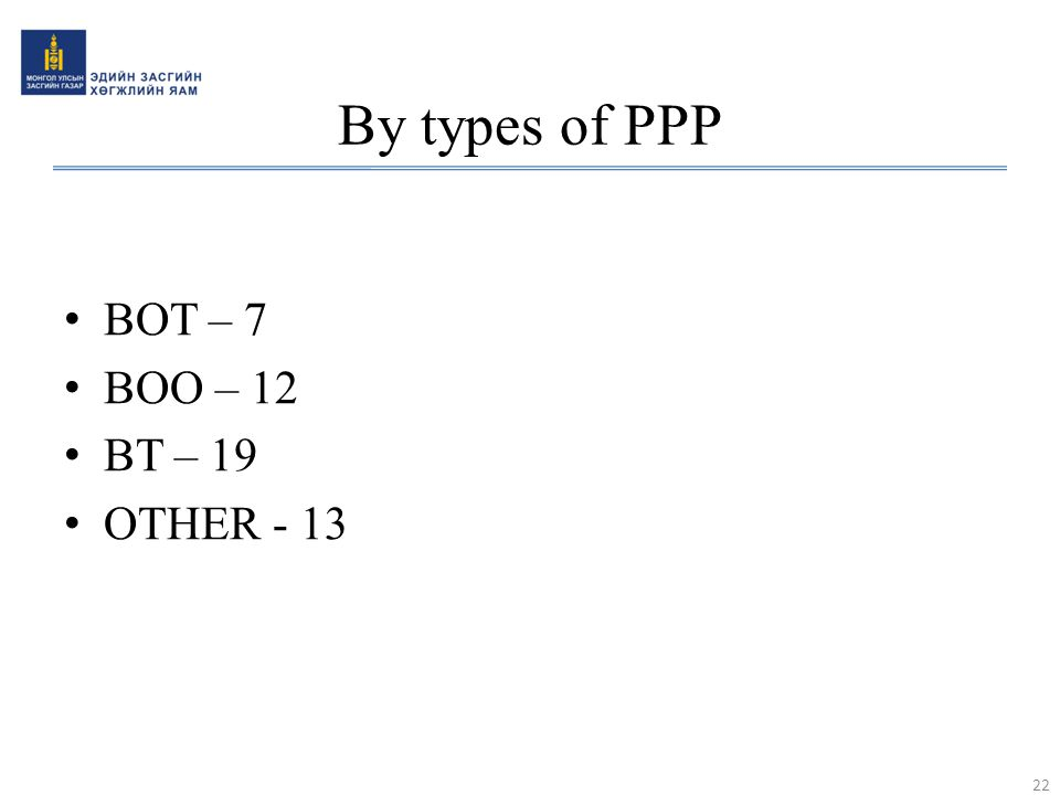 By types of PPP BOT – 7 BOO – 12 BT – 19 OTHER - 13