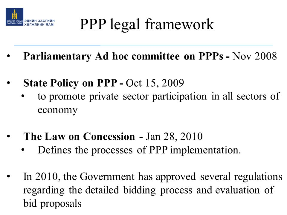 PPP legal framework Parliamentary Ad hoc committee on PPPs - Nov 2008