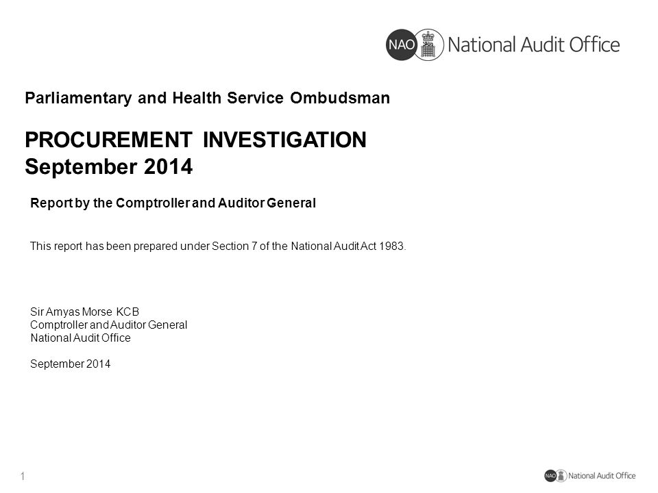 PROCUREMENT INVESTIGATION September 2014