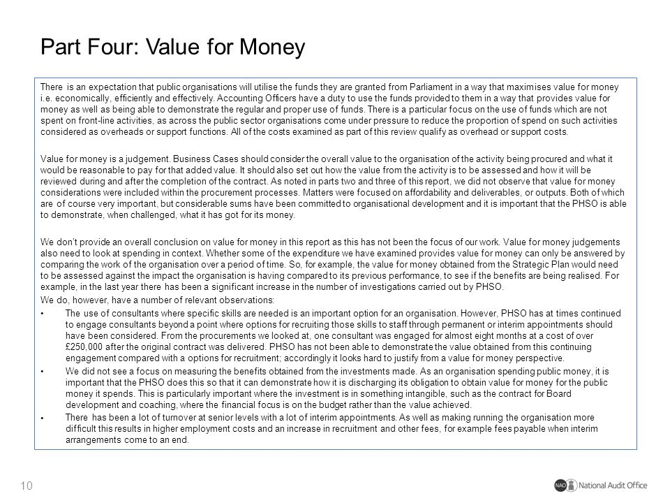Part Four: Value for Money