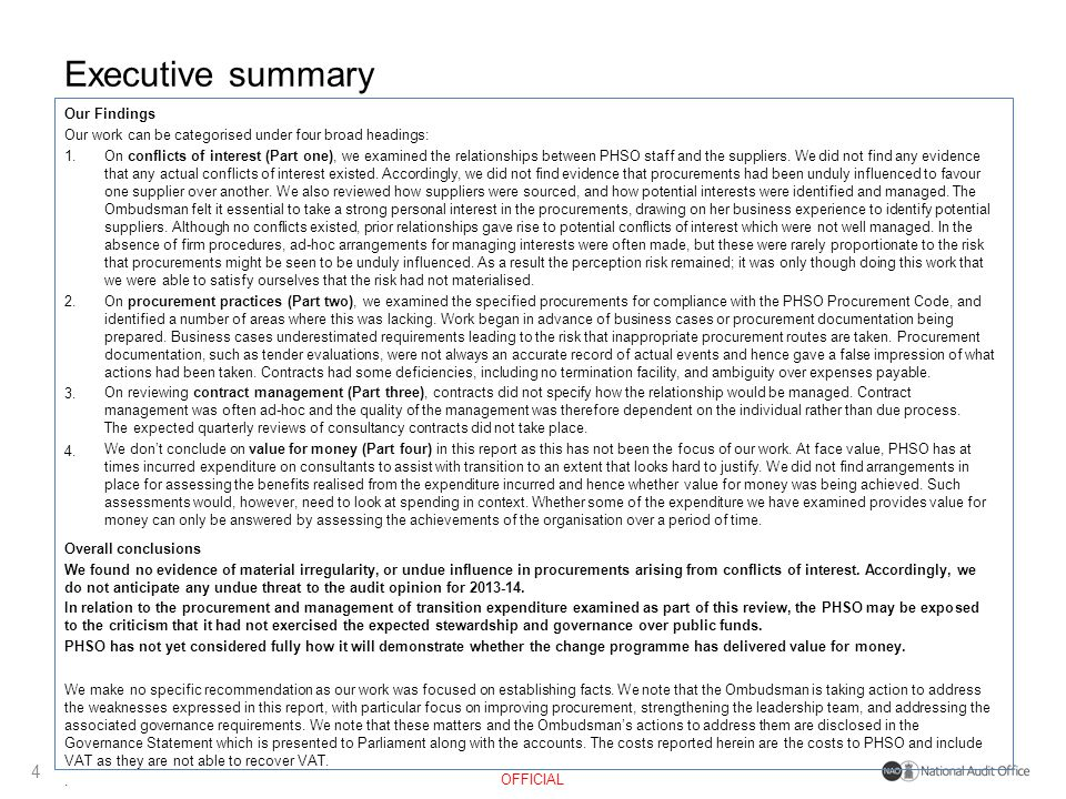 Executive summary 4 Our Findings