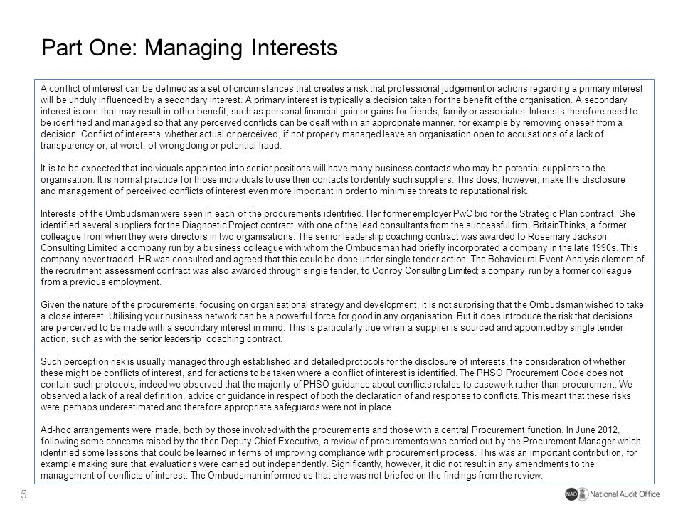 Part One: Managing Interests