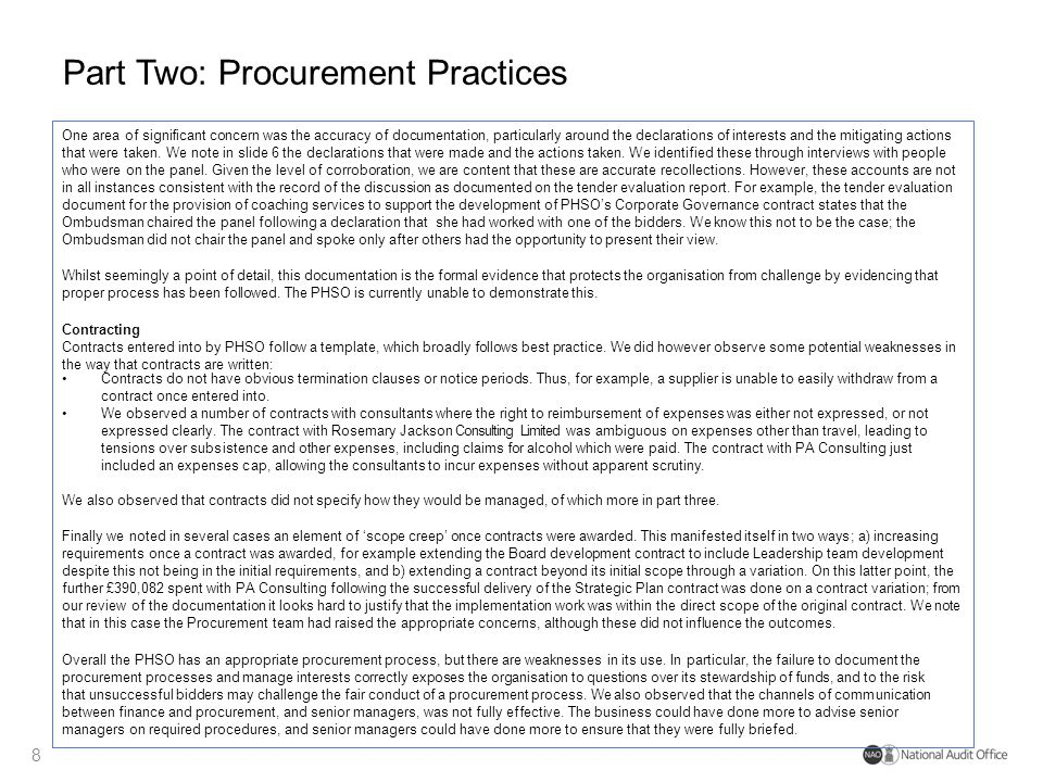 Part Two: Procurement Practices