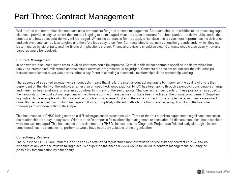 Part Three: Contract Management