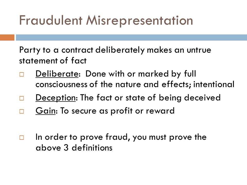 Fraudulent Misrepresentation