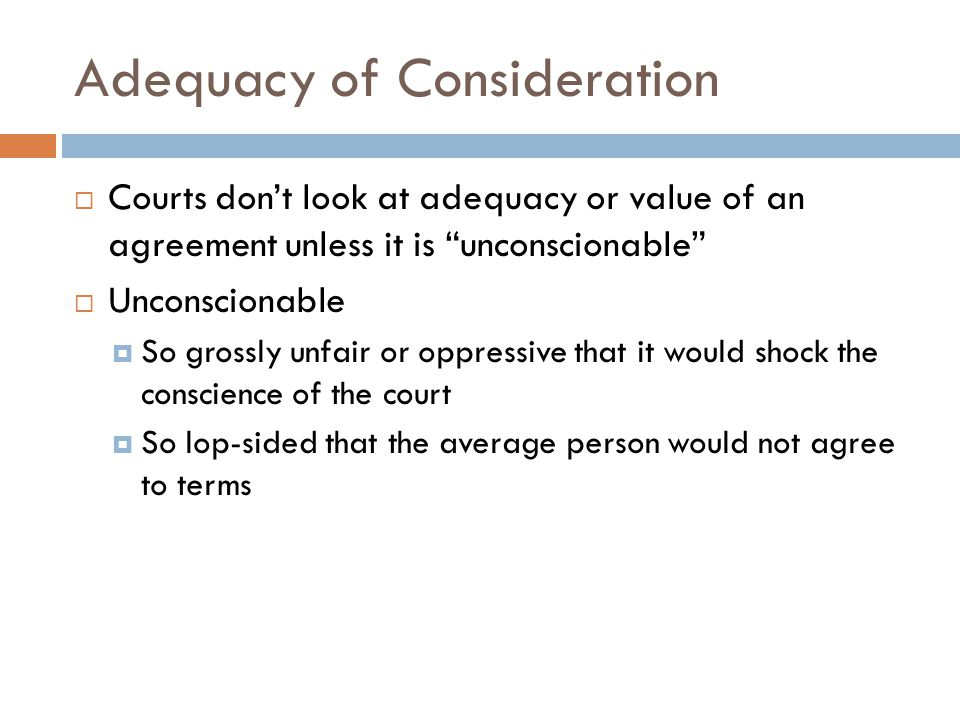 Adequacy of Consideration