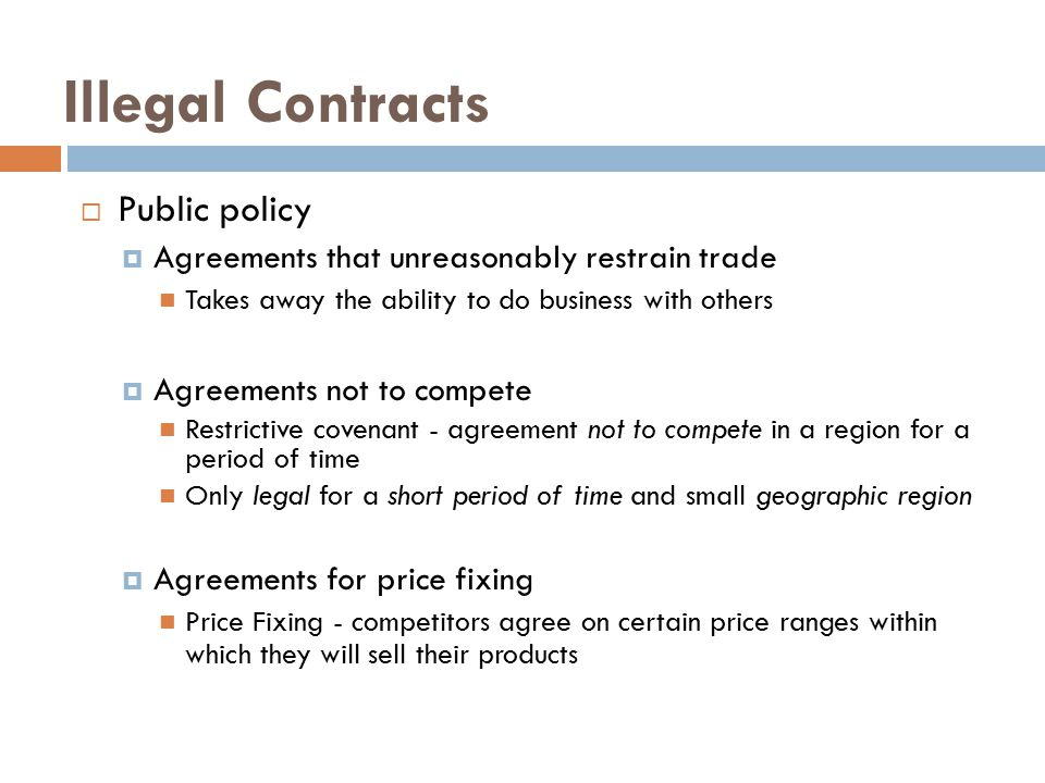 Illegal Contracts Public policy