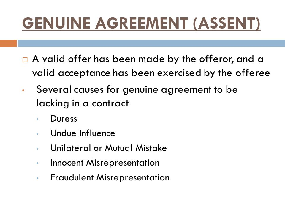 GENUINE AGREEMENT (ASSENT)