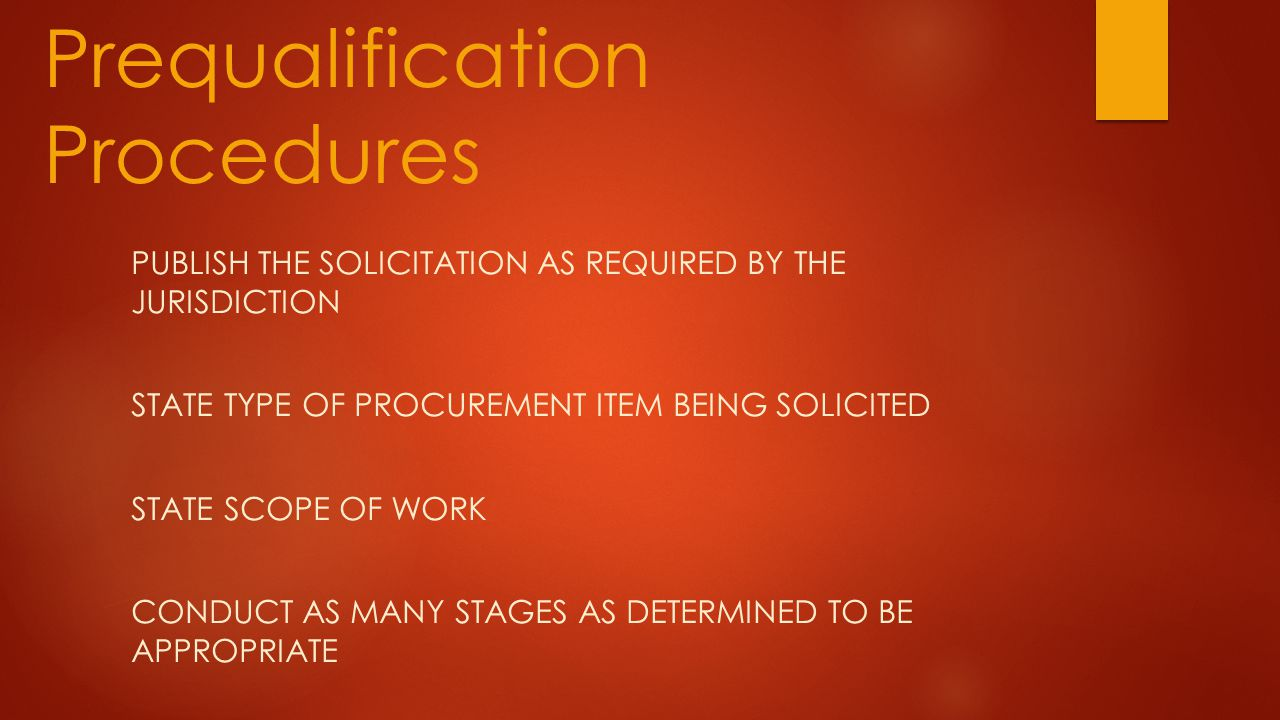 Prequalification Procedures